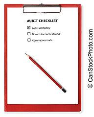 liste contrôle, presse-papiers, audit