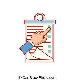 liste contrôle, presse-papiers, isolé, icône, main