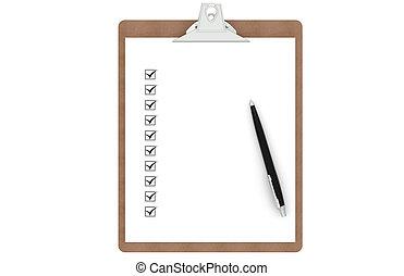 liste contrôle, presse-papiers, stylo