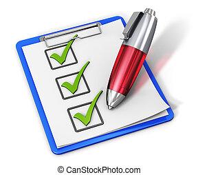 liste contrôle, stylo, presse-papiers