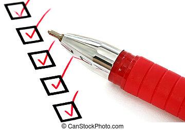 liste contrôle, stylo, rouges