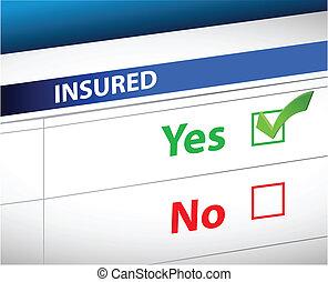 liste contrôle, sur, sélection, assurance