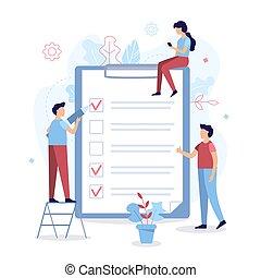 liste contrôle, tâches, business