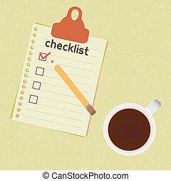 liste contrôle, tasse à café