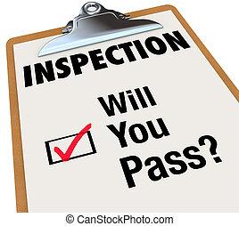 liste contrôle, volonté, presse-papiers, mots, passe, vous, inspection