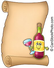 liste, dessin animé, vin