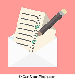 liste, enveloppe, chèque, ouvert