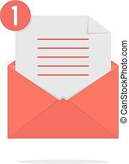 liste, enveloppe, ombre, ouvert, chèque, rouges