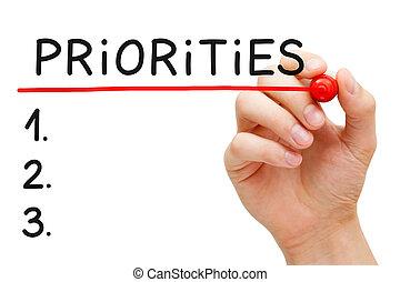liste, priorities