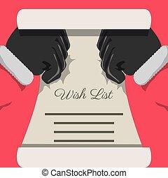 liste souhait, conception, noël