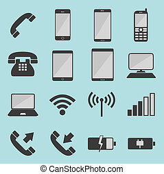 liste, télécommunication, icônes