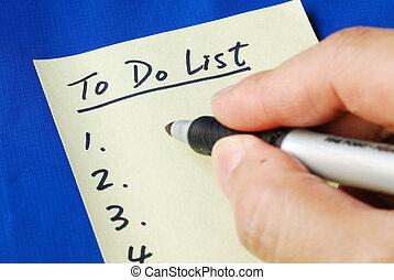liste, tag, bereiten