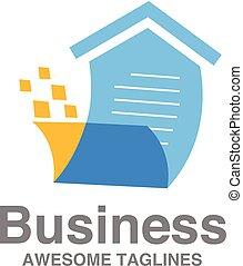 liste, vente, créatif, vecteur, maison, logo