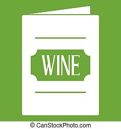 liste, vin, vert, icône