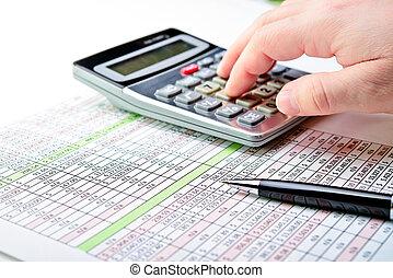 listek, calculator., opodatkować, pióro, rozpostarty, formuje