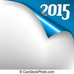 listek, -, papier, wektor, rok, 2015, nowy, ufryzować, kartka na boże narodzenie