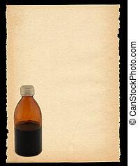 listek papieru, z, butelka, motyw, -, pionowy