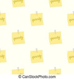 listek, próbka, notatki, seamless, żółty, papier