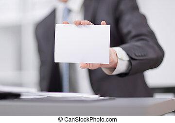 listek, tekst, pokaz, up.businessman, miejsce, czysty, zamknięcie