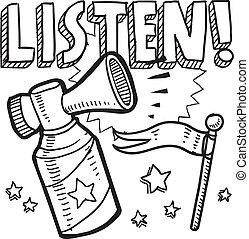 Listen announcement sketch - Doodle style listen ...