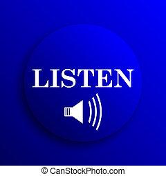Listen icon. Internet button on blue background.