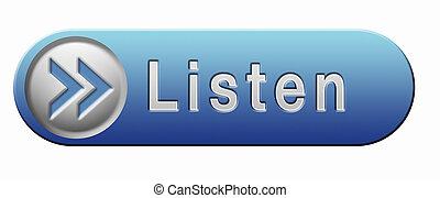 listen icon - Listen live stream music audio or radio button