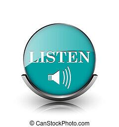 Listen icon. Metallic internet button on white background.