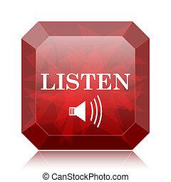 Listen icon, red website button on white background.