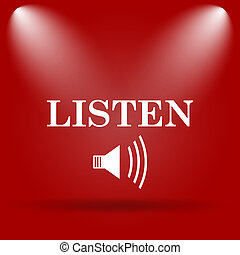 Listen icon. Flat icon on red background.