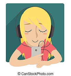 Listen music with headphone woman - Woman listen music using...