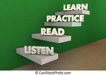 Listen Read Practice Learn Steps 3d Illustration
