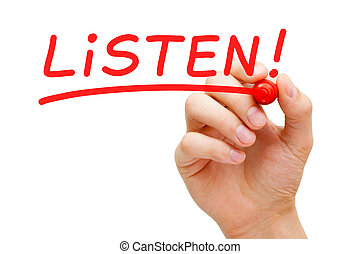 Listen Red Marker - Hand writing Listen with red marker on...