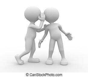 Listen the secret - 3d people - man, person whispering in...