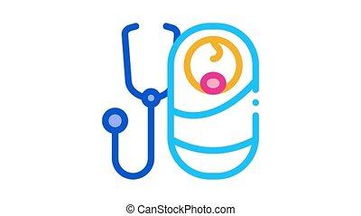 listen to breath of newborn baby Icon Animation. color listen to breath of newborn baby animated icon on white background