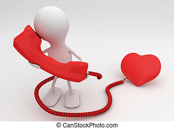 Listen to your heart. 3d rendered love concept