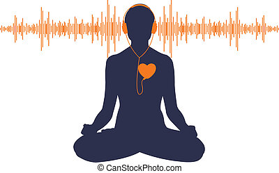Listen to your heart - Vector illustration of yoga listening...