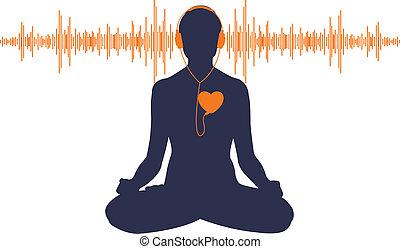 Listen to your heart - Vector illustration of yoga listening...