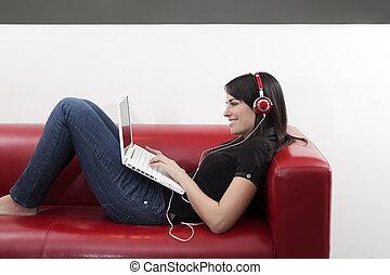 listenin, till, musik