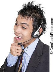 Listening Asian telemarketer