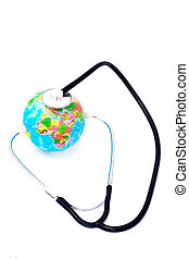 Listening earth with stethoscope isolated on white background