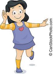 Listening Girl - Illustration of a Girl with One Hand Placed...