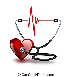 Listening heartbeat concept with heart and stethoscope