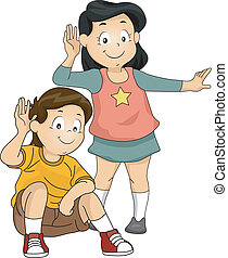 Listening Kids - Illustration of Little Kids with Their ...