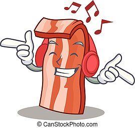 Listening music bacon mascot cartoon style vector...