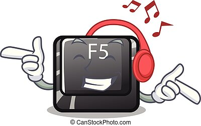 Listening music button f5 in the shape cartoon vector illustration