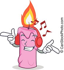 Listening music candle character cartoon style vector...