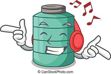 Listening music cartoon water tank on the tower vector...