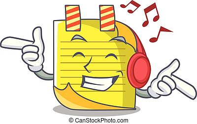 Listening music checked note paper mascot