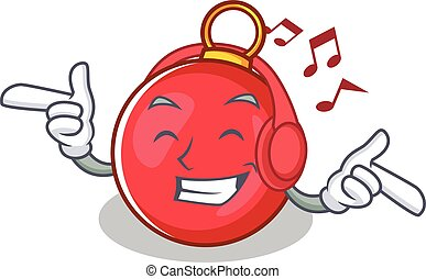 Listening music Christmas ball character cartoon vector...