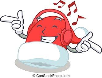 Listening music Christmas hat character cartoon